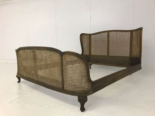 COMING SOON - Rare Cane Vintage King Size French Bed - a808